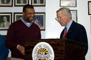 Dr. Keith Baker and Mayor Kemp