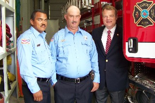 Rural Fire President Charlie Hunt, Chief Terry Gibson and Congressman Mike McIntyre